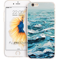 Wholesale paintings ocean waves - Ocean Waves Oil Painting Clear Soft TPU Silicone Capa Cases for iPhone 10 X 7 8 Plus 5S 5 SE 6 6S Plus 5C 4S 4 iPod Touch 6 5 Cover.
