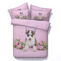 pink animal print bedding 2018 - dog print 3d duvet cover 3 4 pc pink roses bedspreads for girls queen twin king full sizes bedding sets women 500tc bed linens
