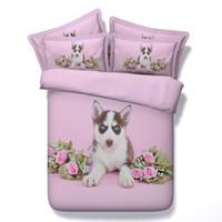 duvet rosas cheias venda por atacado-Impressão do cão 3d capa de edredão 3/4 pc rosa rosas colchas para meninas rainha gêmeo rei conjuntos de cama de tamanhos completos mulheres roupa de cama 500tc