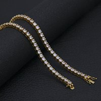 Wholesale Coloured Crystals - necklace gold chain necklaces iced out big Crystal tennis chain statement necklace gold chains Unisex jewelry 2 colour