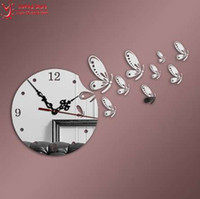 антикварные декоративные зеркала оптовых-9pcs Стрекоза Кристалл часы декоративные 3D DIY настенные часы зеркало стикер декор, античный Европа стиль мультфильм часы гостиная