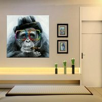 ingrosso pittura a olio di scimmia incorniciata-HD dipinto a mano pittura a olio stampata animale astratto scimmia felice arte della parete di alta qualità decorazioni per la casa su tela multi formati opzioni telaio a66