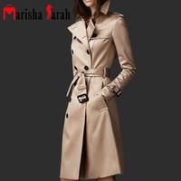 más el tamaño de las mujeres gabardina al por mayor-Spring Autumn Brand Casual Trench Coat para mujeres tallas grandes Long Breasted Slim Windbreaker Abrigos elegantes Abrigos