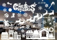 Wholesale sales wall sticker for sale - Group buy New Festive Christmas Snowman Removable Home Vinyl Window Wall Stickers Decal Decor Hot Sale Christmas Transparent window Wallpaper Shop