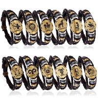 lederarmbänder diy großhandel-12 Konstellationen Echtes Leder Charme Armbänder Männer s sternzeichen Geflochtenen Seil Wrap einstellbare Armreif Für frauen Punk DIY Schmuck