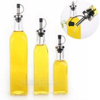 Wholesale Olive Oil Vinegar - Wholesale- Kitchenware Glass Oil & Vinegar Bottle oiler cruet condiment bottles olive oil bottle square oil 280ML 1 pc