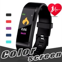 Wholesale color remote control - Original Color LCD Screen ID115 Plus Smart Bracelet Fitness Tracker Pedometer Watch Band Heart Rate Blood Pressure Monitor Smart Wristband