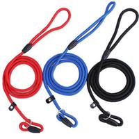 coleiras de cachorro venda por atacado-Pet Dog Corda de Nylon Treinamento Leash Slip Chumbo Strap Collar Tracção Ajustável Animais de Estimação Corda Suprimentos Acessórios 0.6 * 130 cm HH7-1173