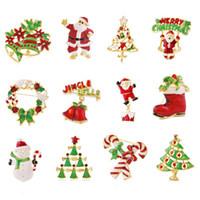 çelenk broşları toptan satış-Emaye Karikatür Noel Broş Pimleri Yılbaşı Ağacı Noel Baba Kardan Adam Çan Boot Garland Broş Korsaj Will ve Sandy Drop Shipping