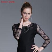 ingrosso maglietta moderna delle ragazze-New Girls Modern Jazz Ballroom Dance Ricamato Top Competizione Performance Practice Diamond T-Shirt Donna Lady Rumba Tango Waltz Dancewear