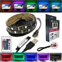Wholesale Led Flexible Cable Strip Lighting - 5V USB LED TV Backlight 2M 5050 RGB 60LEDs Strips Back Flexible Lighting String Kit with USB cable 24key IR Remote Controller