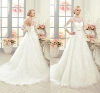 vestido modesto moderno venda por atacado-Marfim branco moderno vestidos de novia modesto manga comprida vestido de noiva 2019 sheer apliques lace-up sem encosto vestidos de noiva ba1981