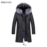 Wholesale Knitted Rabbit Fur Coat Black - 6XL New Mens Winter Wine Camouflage Jacket Coats Thick Parkas Plus Size Real Raccoon Fur Collar Rabbit Lining Outwear Fur Coat