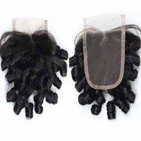 perulu aunty funmi saç toptan satış-Vizon Virgin İnsan Saç Dantel Kapatma Funmi Saç Teyze Kıvırcık Işlenmemiş Perulu Hint Moğol Bohemian Saç Ucuz Fiyat
