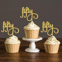 Black White Birthday Party Supplies Australia Gold Silver Glitter Script Fifty Cupcake Toppers Picks