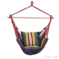ingrosso swing blu-Tempo libero Canvas Hanging Corda Sedia Studente Dormitorio portatile Hammock Swing Indoor e Outdoor Blue Stripe Vendita calda 65xr Ww