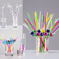 Wholesale wedding plastic straws for sale - Group buy New Creative Straws DIY Double Heads Drinking Straw For lovers Cute Funny Windmills Football Modelling Wedding Party Bar Decor Props rs YY