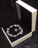 accesorios de pulseras del encanto al por mayor-18 19 20 21CM Charm Bracelet 925 Silver plateó Pandor pulseras Royal Crown accesorios púrpura Crystal Bead Diy joyería de la boda con caja