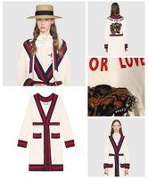 Strick Hooded Jacket Gestreifte Damen Cardigans Langarm Wollmischung Stickerei Tiger Knurren Rundhalsausschnitt Fleece Harajuku 4ARj5L3