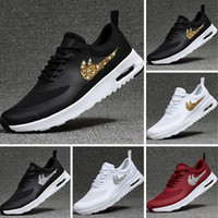 Wholesale Round Sequins - 2017 Max87 Half Palmar Airpillow Running Shoes Maxes87 Leather and Mesh Hot Drilling Sequins Airpillow Breathe Casual Shoes