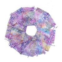 Wholesale Purple Organza Candy Bags - 9x12cm 100pcs lot Purple Coral Print Organza Jewelry Bags Favor Wedding Gift Bags Small Cute Candy Jewelry Packaging Bag Pouch