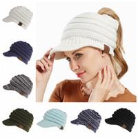 Wholesale crochet skull caps - CC Ponytail Hats 12 Colors Knitted Baseball Beanie Warm Caps Crochet Hat Messy High Bun Cap OOA5283