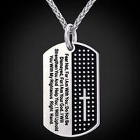 versos bíblicos venda por atacado-Collares bíblia cruz homens colar colar de cão militar aço inoxidável 316l colar homens jóias religiosa bíblia verso colar