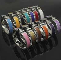 Wholesale yellow bangle - 12MM Luxury Brand Jewelry stainless steel Pulseira Bracelet & Bangle 18k silver plated white black red yellow orange H bangles For Women men