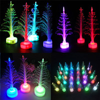 Wholesale mini plastic trees resale online - Mini LED Xmas Christmas Tree Color Changing Light Lamp Home Party Decoration Ornament Lighting Up Kids Gift Toys AAA929