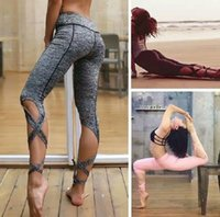 Wholesale sexy yoga pants for women online - 50pcs Sexy Sport Pants For Women Spandex Yoga Ballet Leggings Movimiento Pantalones Fitness Running Trousers sport tights in stock