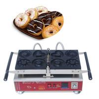 mini fer électrique achat en gros de-Commercial électrique 220v 110v 4 trous Mini Donuts fleur et en forme de coeur Donuts Makers Machine Baker Fer Pan Faire La Plaque