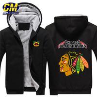 kapüşonlu sweatshirt hokeyi toptan satış-NHL Kuzey Amerikan hokey kalınlaşmak artı kadife fermuar ceket moda kapüşonlu sweatshirt kış rahat ceket Chicago Blackhawks