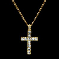 Wholesale Bling Cross Jewelry - Men Women Necklaces Pandents Hot Fashion Hip Hop Bling Rhinestone Crystal Cross Pendant Necklace 2018 Delicate Jewelry Gift 162648