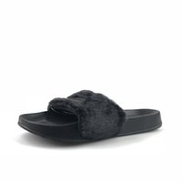 Wholesale Fur Faux - 2018 Leadcat Fenty Rihanna Faux Fur Slippers Women Indoor Sandals Girls Fashion Scuffs Pink Black White Grey Slides High Quality With Box
