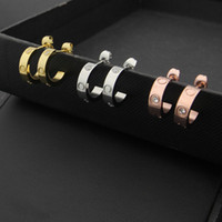 Wholesale threading earrings - Fashion jewerly famous brand Stud Titanium steel thread Earrings 18K gold plated stainless Steel Classical Love gem Earrings For Women coupl
