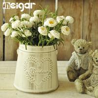 Wholesale Heart Flower Vase - Flower Vases Pots With Handle Metal Heart Vintage Pastoral Style Carve Craft For Home Decor Garden Decoration Storage Basket