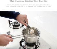 ovo que cozinha o suporte venda por atacado-Manual de Cozinha Egg Clipe Titular Aço Inoxidável Pinças de Ovo Não-Slip Multifunction Pão De Salada De Alimentos Tong Ferramentas