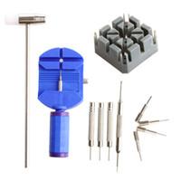 uhrstift entfernen großhandel-11 Stücke Uhrenarmband Link Remover Hammer Pin Punch Frühling Bar Repair Tool Kit