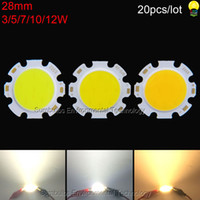 Wholesale 28mm Led - 20pcs lot warm nature cool white 3W 5W 7W 10W 12W 28mm rounded COB Chip LED light source for spotlight downlights ceiling lights