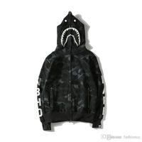 Wholesale Black Hedge - Popular Brand Shark Head Skull Head Dark Black Hedge Sweater Hoodies Jackets Loves Skateboard Hip Hop Hoodies