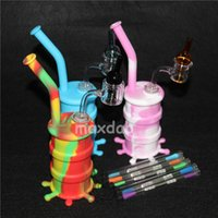 Discount nail ball tool - New Silicone Pipes Silicone Pipes for Smoking Glass Water Pipes Glass Bubblers For Smoking Pipe with thermal quartz nails ball caps dab tool