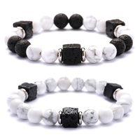 runde schwarze perlenschnur großhandel-Druzy 6PC Edelstahl Septum Quadrat vulkanischen Stein Runde Perlen String schwarz und weiß Mode Paar Freundschaft Armband