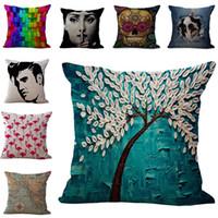 Wholesale totoro pillows online - Square Pillow Case Cushion cover Tree of Life Fornasetti maestro Elvis Presley Beatles Flamingo Owl Totoro Throw Pillowcase Will and Sandy