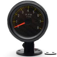 ingrosso cornice di illuminazione-2 pollici 52mm Auto Car Tachimetro analogico faccia in fibra di carbonio 0-8000 RPM Sfondo bianco Light Black Bezel