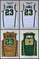 xxxl stickerei-shirt großhandel-NCAA IRISH HIGH SCHOOL Grün Weiß 23 Lebron James Genähte Trikots Hochwertiges Sportwear-Stickereihemd für Männer S-XXL