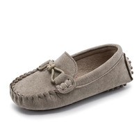 Wholesale child leather loafers for sale - Solid color children soft leather loafers kids fashion casual boys and girls boat shoes Comfortable single shoes gray shoe