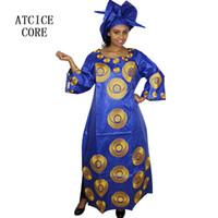 afrikanische schals frauen großhandel-Afrikanische Kleider für Frauen Mode-Design neue afrikanische Bazin Stickerei Design Kleid langes Kleid mit Schal zwei Stück ein Satz A243 #