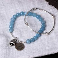Wholesale South Sea Bracelets - aquamarine bracelet 925 natural sea blue treasure hand string female sweet and lovely handmade fortune cat bracelet jewelry wholesale