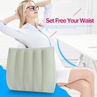airplane prints Australia - wholesale Inflatable Arc Type Travel Waist Cushion Portable Pillow With Storage Bag Business Airplane Train Car Office 35*35*8cm