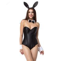 ingrosso conigli conigli costumi-Costume di Halloween Sexy Bunny Cosplay Tuta Confezione uniforme Tentazione Tuta Nightclub Coniglio Ragazza Costume